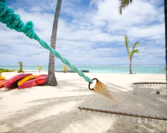 Beach Print, Beach Art, Beach Photo, Ocean Wall Art, Beach Decor, Beach Photography, Travel Art, Hammock