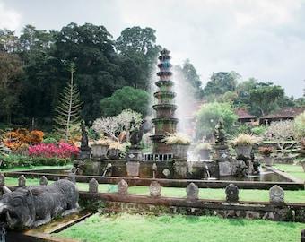 Tirta Gangga Water Temple, Travel Photo, Large Wall Decor, Landscape Photography, Contemporary Art, Photos on Wood