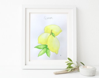 Lemons, fruits, original illustration, watercolor, handmade, 8 x 10, 300g paper
