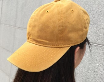 e1eeaf5e1a0 Yellow Washed Baseball Cap   Dad Hat   Pigment dyed hat   Baseball Cap for  Men and Women   Unisex Cap   Washed Baseball Hat
