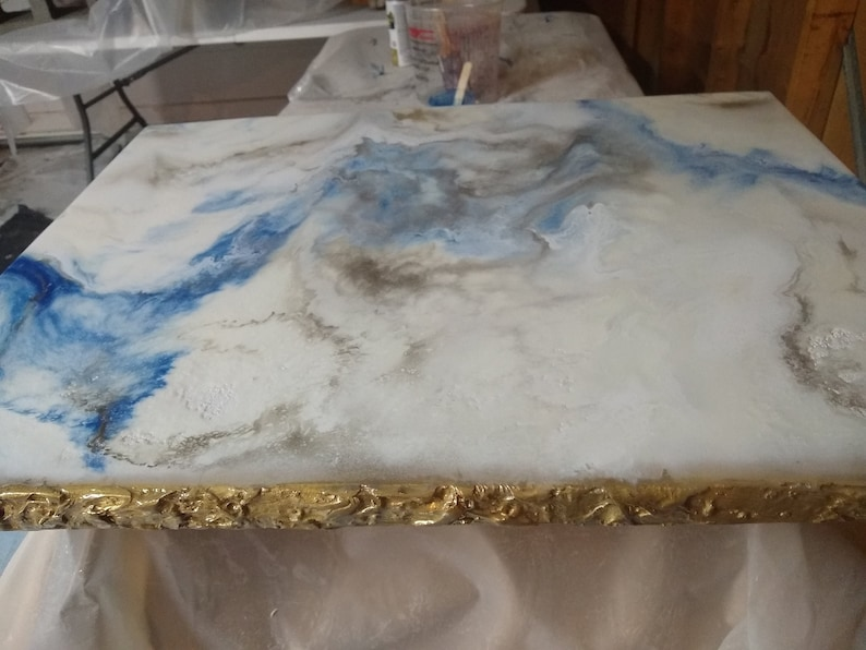 Epoxy Resin White Marble Table Top in Blue and Golden color