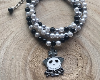 Pearl Wrap Bracelet with Jack Skellington Charm / Black, White and Gray Beads / Three Layers  / Necklace / Nightmare Before Christmas