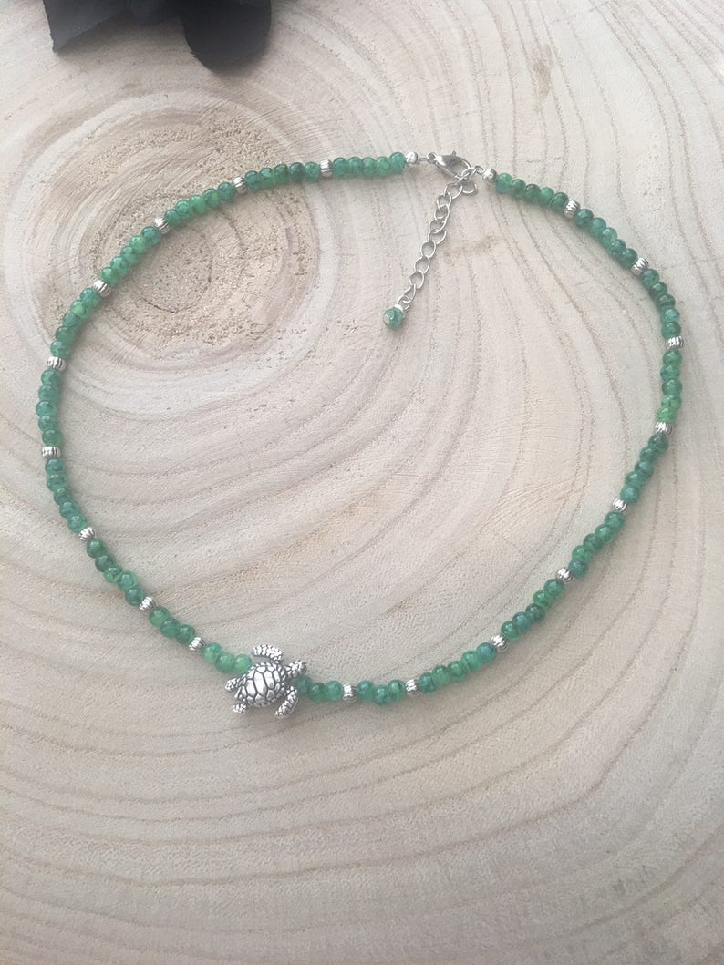 Choker  Marble Green Beaded Necklace with Silver Sea Turtle  Adjustable  Boho Beach Style