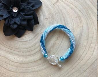 Shimmery Blue Ombre Spiral Bracelet / Twisted Tubular Herringbone Woven Bracelet