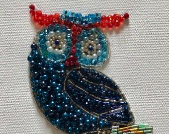 Blue Beaded Owl