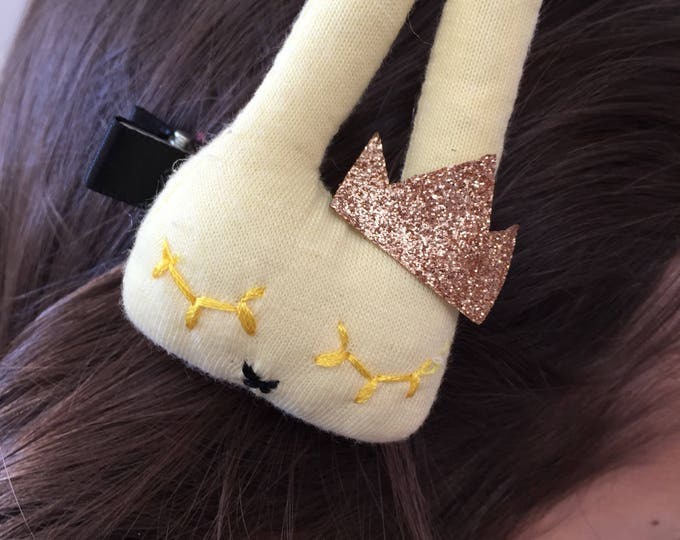 Bunny with Crown baby girl and girl - princess hair clip Barrette glitter golden-yellow - hair accessory.