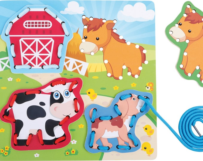 Puzzle à enfiler, jouet en bois naturel motricité fine - Animaux savane et ferme - Trous et lacets - Marque LEGLER -Inspiration Montessori