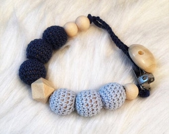 Pacifier baby wooden beads crochet cotton-tones and raw blue octagonal - hanging pacifier or teether rattle - natural