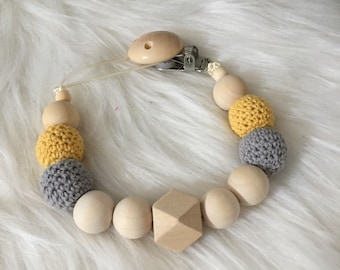 List birth and Steve pacifier baby made of wood and octagonal cotton crochet beads - hanging pacifier or rattle tooth