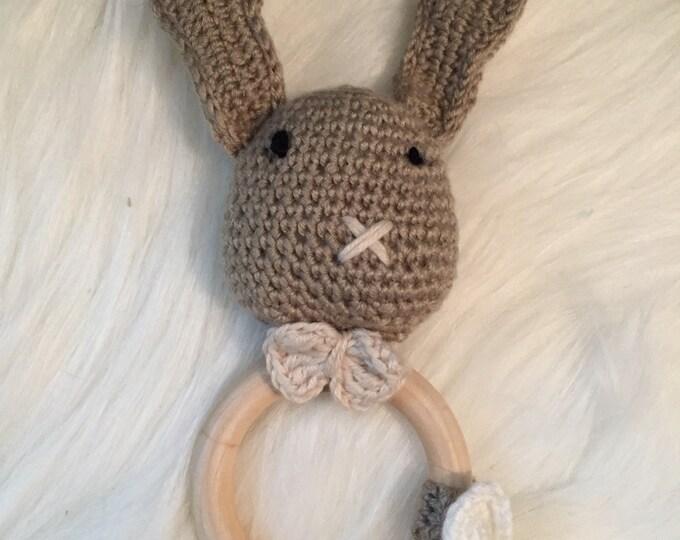 Rattle baby crochet cotton and wood ring teether - stuffed, plush rabbit wool - gift idea original-