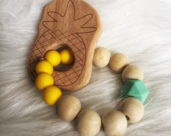 Rattle teething baby in raw wood - pineapple - tropical collection ring and bpa free silicone jungle - mint, yellow
