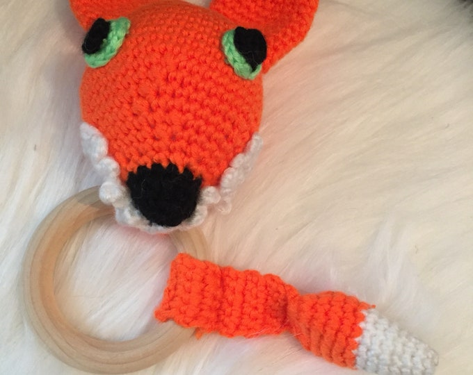 Rattle baby crochet cotton and wood ring teether - stuffed, plush Fox in wool - gift idea original-