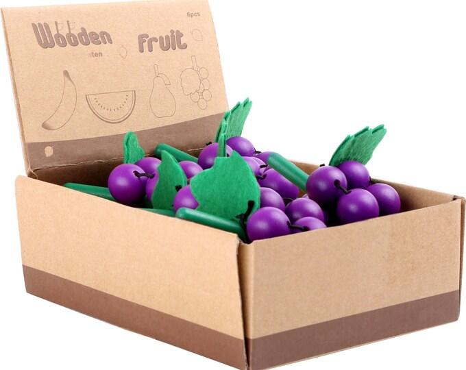 Légume en bois et feutrine pour dinette, marchande - raisin  - Marque LEGLER - Jouets naturels inspiration Montessori