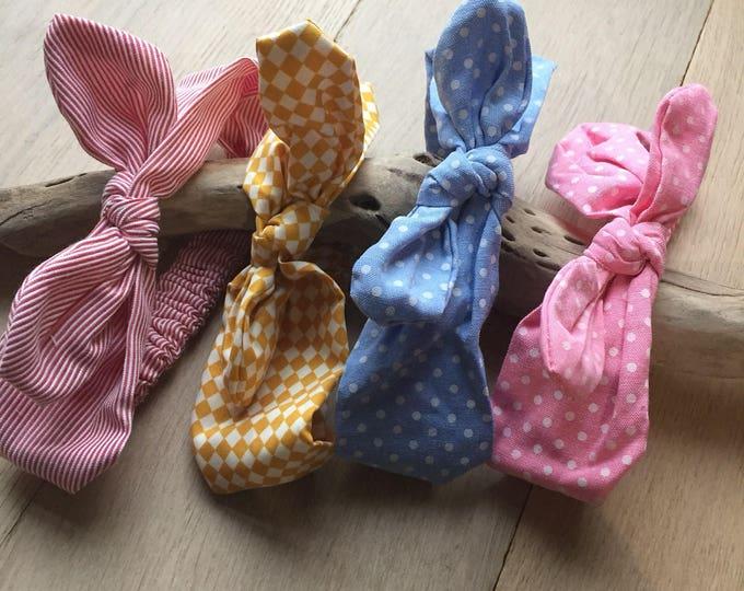 Baby girl fabric headband - Bunny ear tight head pink, striped, yellow and blue-headband - gift idea