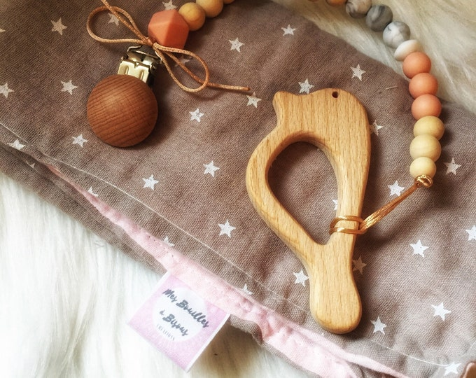 Baby baby girl blanket-original square box lange double gauze, customizable pacifier and teether bird-Boho Baby boy tie
