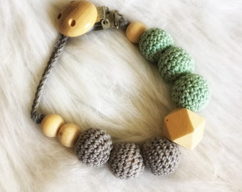 Baby pacifier raw pearls crochet cotton-grey and mint, octagonal - hanging pacifier or teether rattle - natural wood