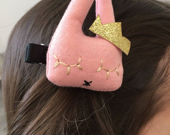 Bunny with Crown baby girl and girl - princess hair clip Barrette glitter golden rose - hair accessory.