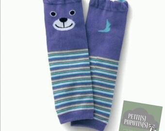 Jambière bébé  - Genouillère, chaussette - Idéal couches lavables ou pour protéger bébé du froid - rayé blanc, bleu, vert - ours sourire
