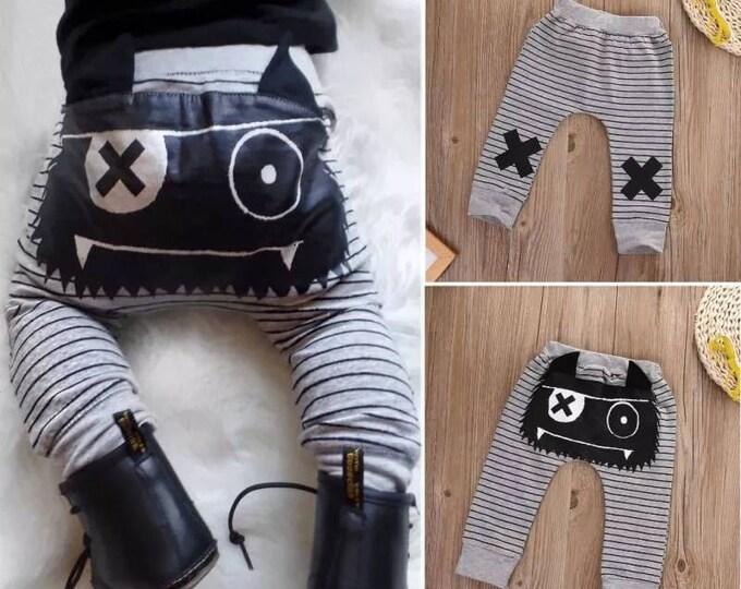 Joli legging, pantalon, jogging bébé garçon- motif monstre - idéal pour les couches lavables- idée pour un cadeau de naissance original