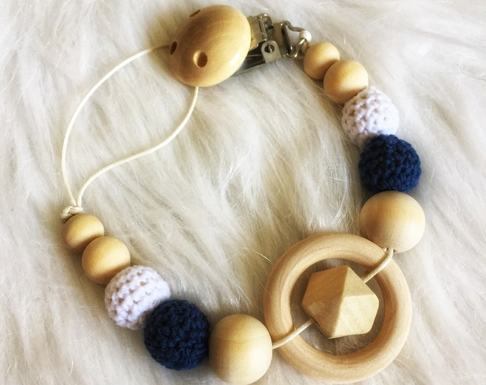 Pacifier baby wooden beads crochet cotton - blue, grey and beige - tie teether rattle - natural and raw