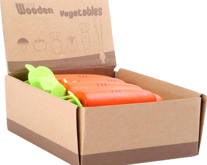 Légume en bois et feutrine pour dinette, marchande - carotte - Marque LEGLER - Jouets naturels inspiration Montessori
