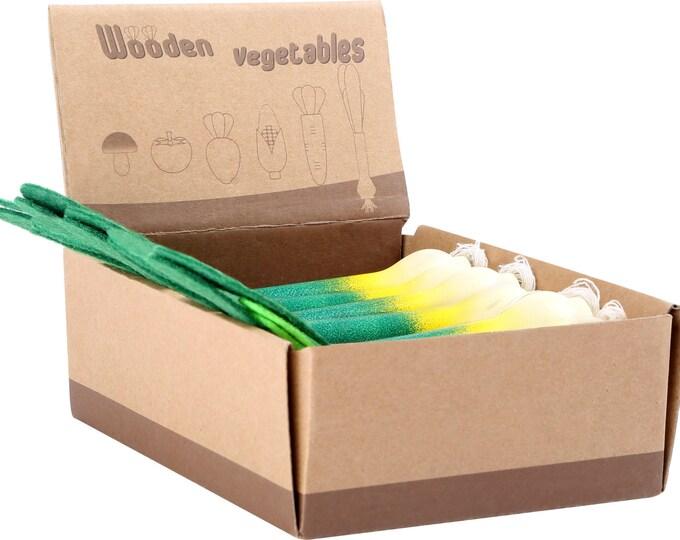Légume en bois et feutrine pour dinette, marchande - poireau 17cm - Marque LEGLER - Jouets naturels inspiration Montessori