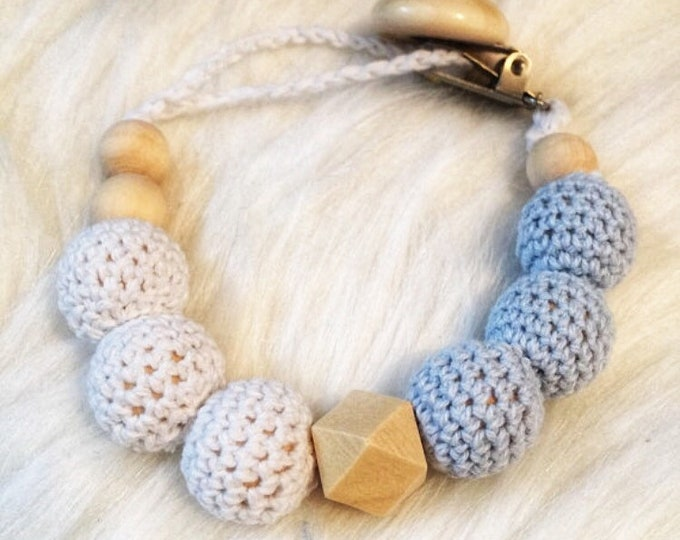 Pacifier baby wooden beads and raw cotton crochet white and blue octagonal - hanging pacifier or teether rattle - natural