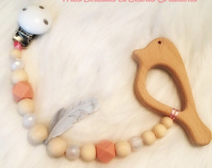 Teething and educational Baby Rattle wood raw and silicone - bird with attached teething ring - Boho baby collection