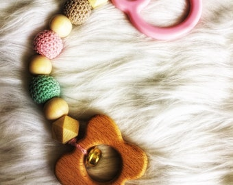 Teething and educational Baby Rattle wood raw and silicone - coral koala with attached teething ring - gift idea