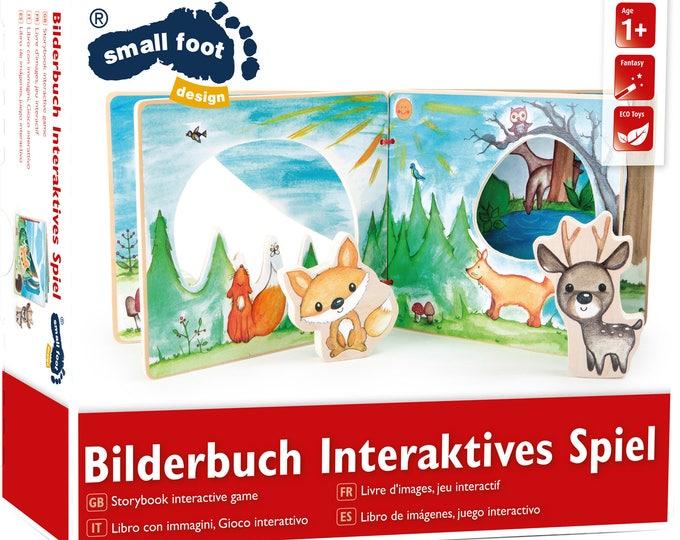 Livre en bois avec figurines animaux cerf et renard- Jeux bébé et enfant pour développer l'imagination et le vocabulaire - Marque LEGLER