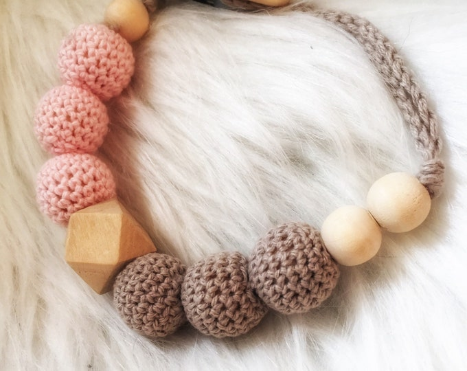 Pacifier, baby wooden beads and raw cotton-grey and pink, octagonal - crochet hanging pacifier or teether rattle - natural
