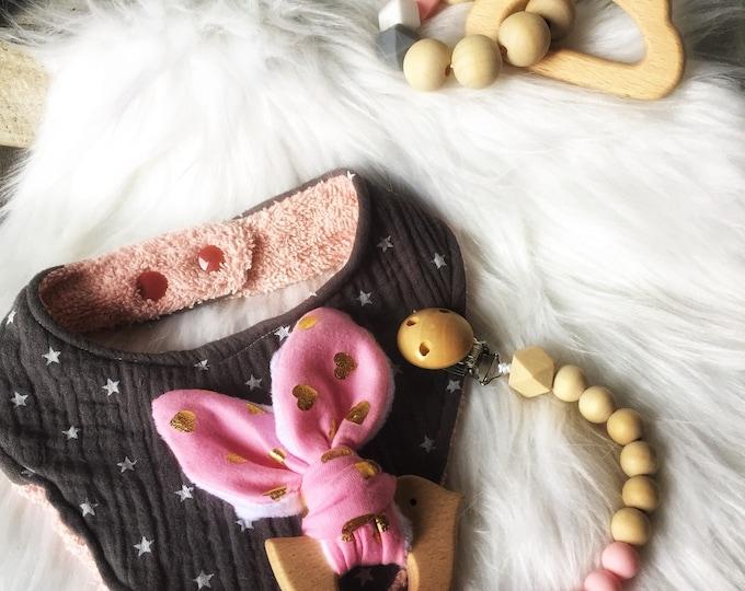 Baby box/trinket box baby pacifier bib bandana, bunny ears rattle and teether rattle silicone