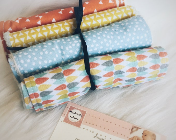 Set of 8 wipes washable baby - yellow, blue, multicolor - washcloth, cotton and blanket