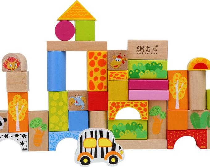 Baril de blocs de constuction en bois - Thème animaux du zoo - Jeu de motricité, cubes en bois - Marque LEGLER