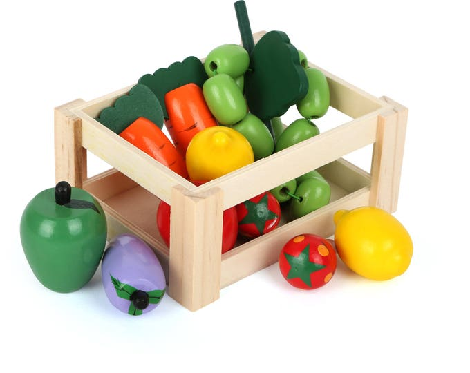 Légume en bois et feutrine pour dinette, marchande - cagette , panier en bois garni - Marque LEGLER - Jouets naturels inspiration Montessori