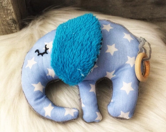 Baby elephant - with teething ring toy/rattle squeaker, swishing and Bell-cotton blanket and minky-gift - Luka