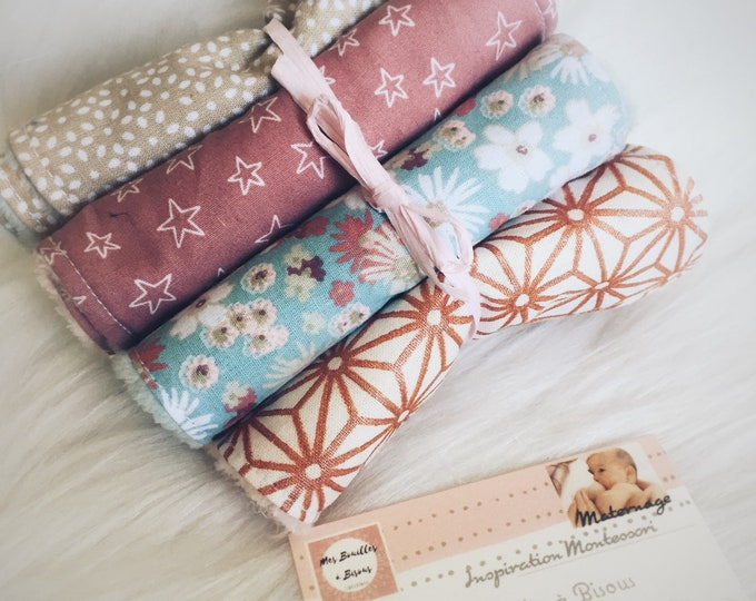 Set of 8 wipes washable baby pink, mint, beige, flowers-washcloth, cotton and blanket