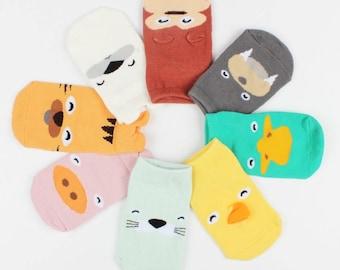 Chaussette bébé, soquette originale et colorées - tigre, otarie, ours polaire, singe, morse, singe - accessoires bébé - idée cadeau