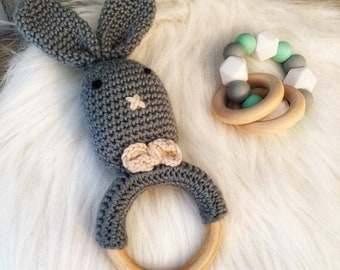 Baby box/gift-newborn crochet grey Bunny rattle and teether silicone mint, grey and white