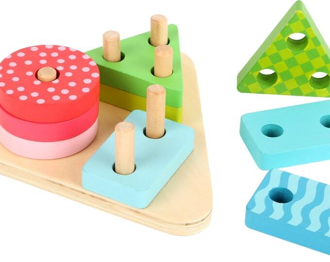 Formes en bois à encastrer géometriques- Inspiration Montessori- Puzzle bébé en bois- Jouet de motricité et couleurs - Marque LEGLER