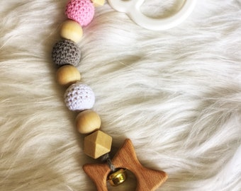 """Rattle or toy hanging porch wooden - baby-stroller hang on bed, Park, Deckchair, Ark-collection """"starry sky"""""""