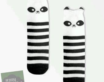 Chaussette bébé, accessoire mode - chaussette montante, jambière - Idéales pour protéger bébé du froid - panda noir et blanc