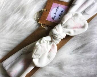 Baby headband-elastic oeko tex jersey - headband baby girl hair clip, bow - arrows-gift idea