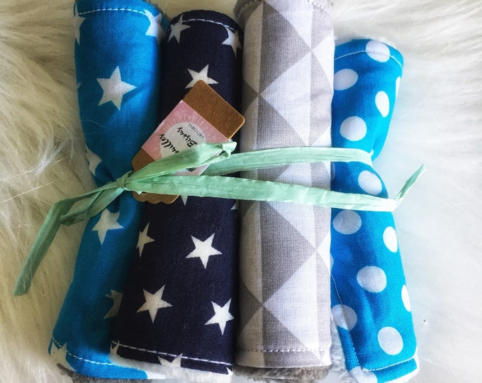 Set of 8 wipes baby fabric-Star - Blue, turquoise and gray-washcloth, cotton and minky blanket