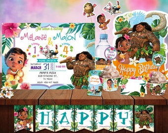 Baby Moana Maui Joint Birthday Party Printable Kit Digital Personalized Package