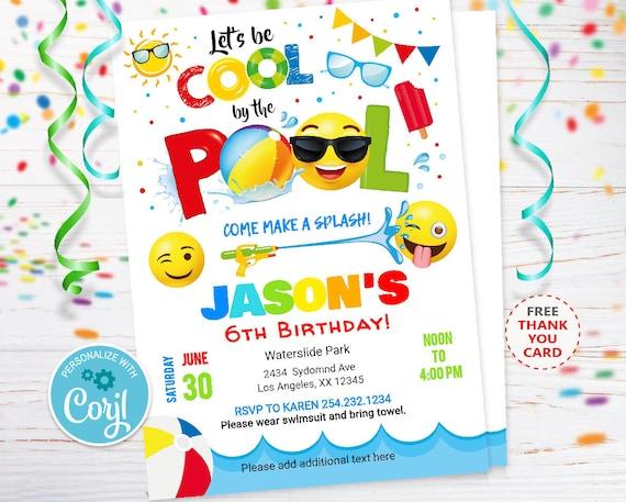 Emoji Birthday Pool Party Invitation Editable Invitations Swimming