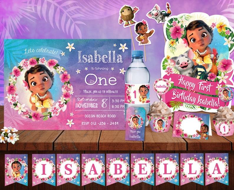 baby moana decoration baby moana birthday party supplies moana printable invitation baby moana printable birthday moana party package