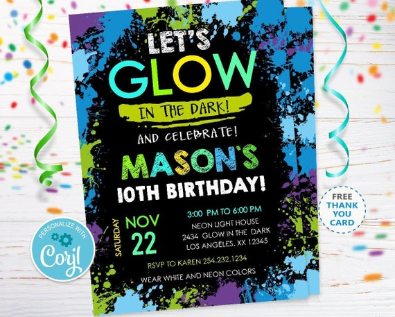 Glow Party Invitation Instant Download In The Dark Neon Birthday Invitations Editable CORJL