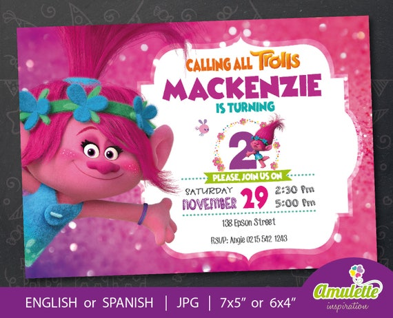 Trolls Poppy Birthday Invitation Digital