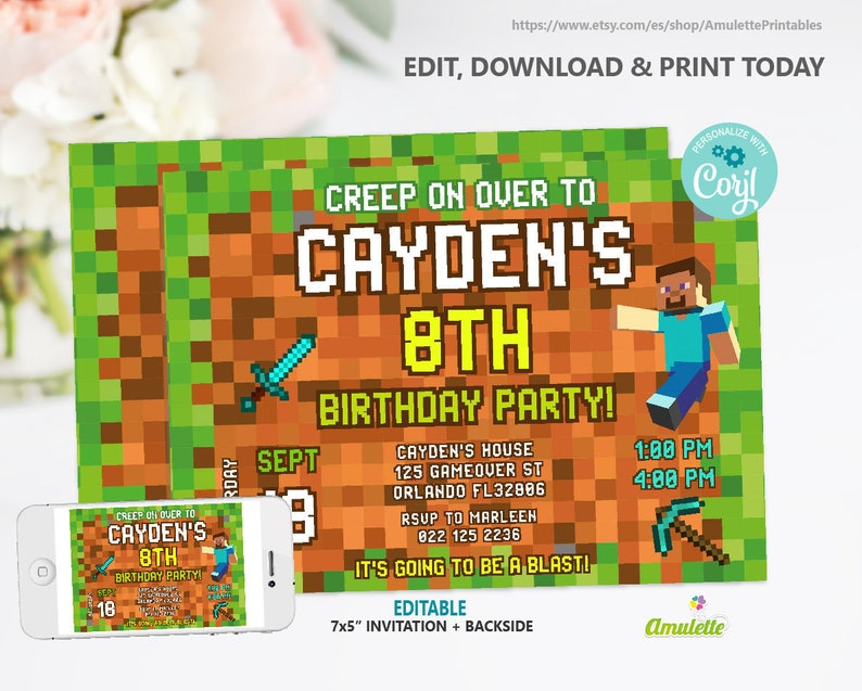 photograph regarding Minecraft Invitations Printable referred to as EDITABLE Minecraft invitation Minecraft birthday occasion invites Movie Recreation celebration Printable template, quick obtain